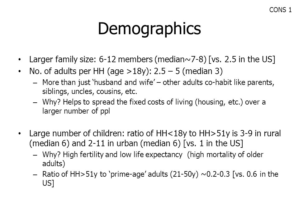 CONS 1 Demographics. Larger family size: 6-12 members (median~7-8) [vs. 2.5 in the US] No. of adults per HH (age >18y): 2.5 – 5 (median 3)